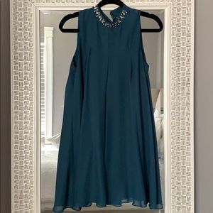 BCBG teal mock neck dress in size small